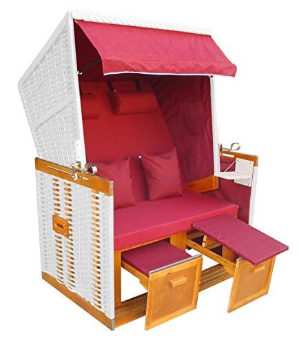 das wohnwerk Exklusiv für Amazon: Strandkorb Ostsee in rot mit zwei Bezügen und Abdeckhaube im Setpreis