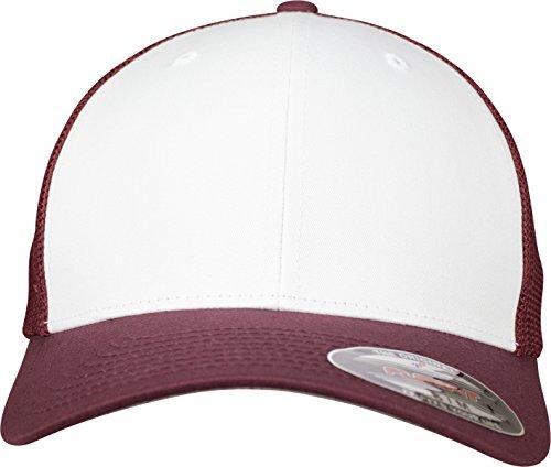 Flexfit Mesh Colored Front Unisex Kappe für Damen und Herren, Mehrfarbig (maroon/White), S/M