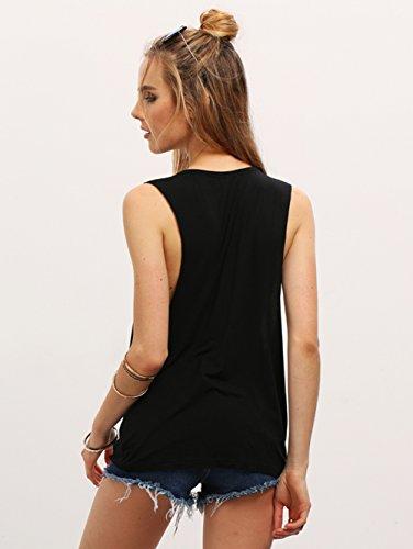 Minetom Donne Ragazze Estate Girocollo Allentato Floreale Canotte Vintage Senza Maniche Stampa Tribale Tank Vest Tops T-shirt Nero