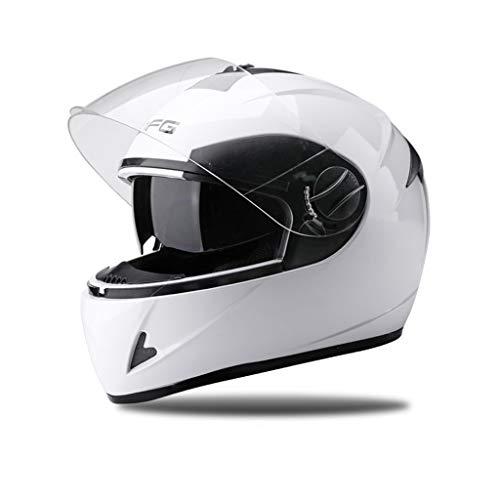 CXQBYNN Fahrradhelm, elektrischer Akku Motorradhelm Herren Vier Jahreszeiten universeller Integralhelm Damen Winter Warmer Vollhelm (Color : White)