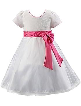 SMITHROAD Kinder Kleid Prinzessin Mädchen Organza Tüllrock Satin Ihnenteil Pailletten Festlich Hochzeit Kurzarm