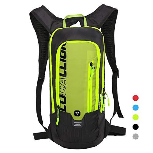 LOCAL LION Fahrradrucksack Skirucksack klein für Damen & Herren 6L Ultraleicht wasserdicht mit Trinksystem für Trinkblase bis 2L - Ideale zum Skifahren | Radsport | Camping grün