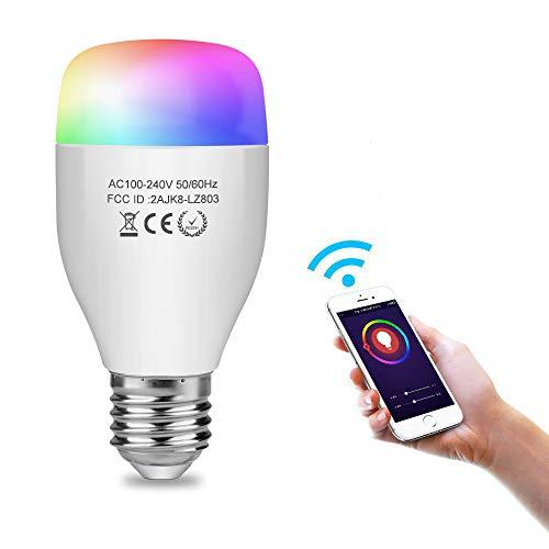 Aigoss Wi-Fi Intelligente Glühbirne Dimmbare WLAN Lampe, E27 7W 16 Millionen Farbwechsel und Timing-Funktion, Fernbedienung über Mobiltelefon und Sprachsteuerung mit Alexa Google Home