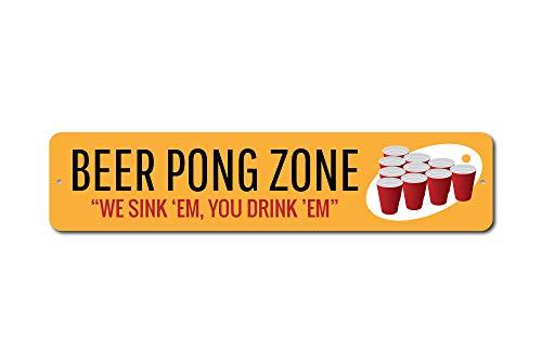Beer Pong Zone Zeichen, Wir Spüle 'em You Drink' EM Custom Party Decor, Metall Trinken rot Tassen Spiel Man Cave Geschenk Qualität Aluminium Schild, Aluminium, rot, 1) 4