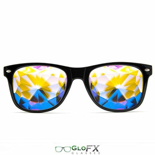 GloFX Herren Kaleidoskop Gläser - Rainbow EDM- Rave Lichtbeugung 5,5 x 5,25 x 2 inches schwarz