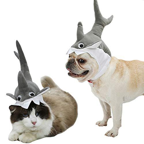 een-Kostüm für Katzen, Hai, Hai, Größe S bis M, S, grau ()