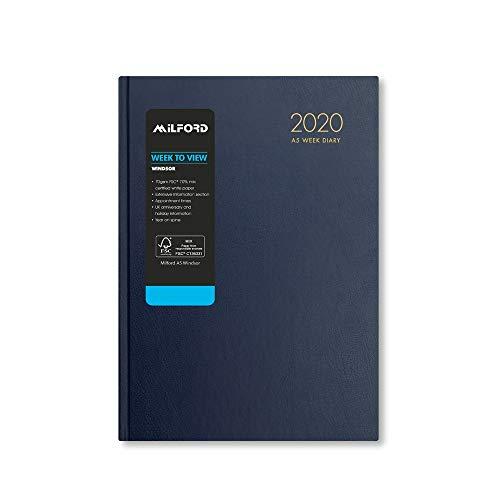 Milford 2020, agenda settimanale da scrivania con appuntamenti, formato A5, da gennaio a dicembre, Windsor A5 Blue Diary