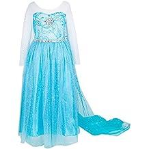 ELSA & ANNA® Princesa Disfraz Traje Parte Las Niñas Vestido (Girls Princess Fancy Dress) ES-FBA-ELSASUM01 (3-4 Años, ES-ELSASUM01)