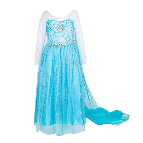 ELSA & ANNA® Ragazze Principessa abiti partito Vestito Costume IT-FBA-ELSASUM01 (IT-ELSASUM01, 6-7 Anni)