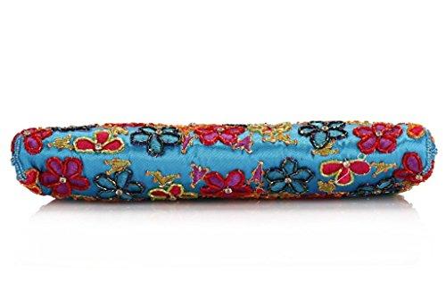 ERGEOB Damen Hand bestickt Perlen Tasche clutch bag Handwerk Tasche weiss 04 kaffee