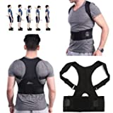 #7: GNEY Adjustable magnetic power posture back support correction belt band posture corrective brace body shaper strap for women men (M)