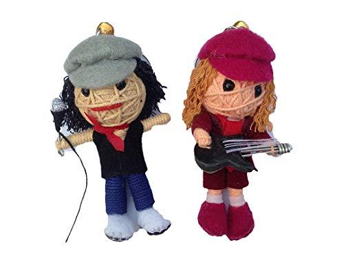 String Doll World AC/DC Angus Young & Brian Johnson, 2x Schlüsselanhänger Voodoo-Puppe, Glücksbringer (Kenny Aus South Park Kostüm)