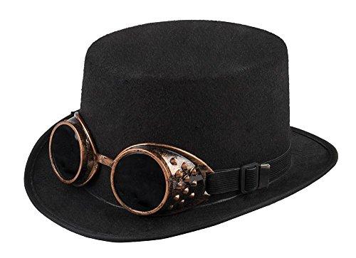 Schwarzer Zylinder mit bronzefarbenen Steampunk Goggles Gr. 59 Hut Brille - Burning Mann Damen Kostüm