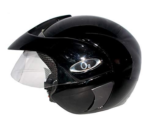 AutoVHPR O2 Black Pearl Open Face I S I Certified Helmet Motorbike Helmet (Black)
