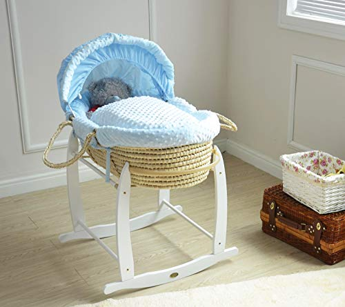 MCC Komplettset Moses Palmkorb, Baby Korb, Stubenwagen, in Blau mit Matratze, Bezug und Schaukelgestell