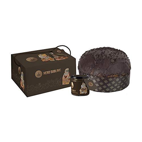 Fiasconaro panettone nero sublime con gocce cioccolato e fragoline - 1000 g