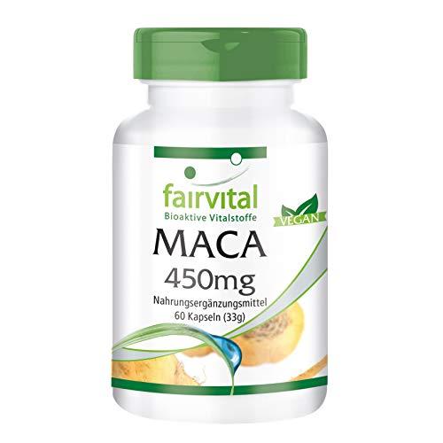 Maca 450mg - VEGANO - Altamente dosificado - 60 Cápsulas - 4 veces extracto de raíz de concentrado - ¡Calidad Alemana garantizada!