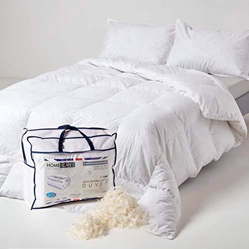 Homescapes extra warme Winter-Bettdecke, 135 cm x 200 cm, Federdecke Wärmeklasse 5-6 (85% Entenfedern und 15% Daunen) Steppbettdecke Öko-Tex-Zertifiziert