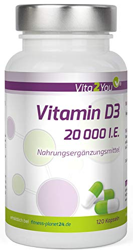 Vitamin D3 - 20.000 IE - 120 Kapseln - Hochdosiert - 20 Tagesdosis - 1000 I.E. pro Tag - Premium Qualität - Made in Germany -