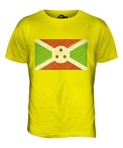 CandyMix Burundi Kritzelte Flagge Herren T Shirt Zitronengelb