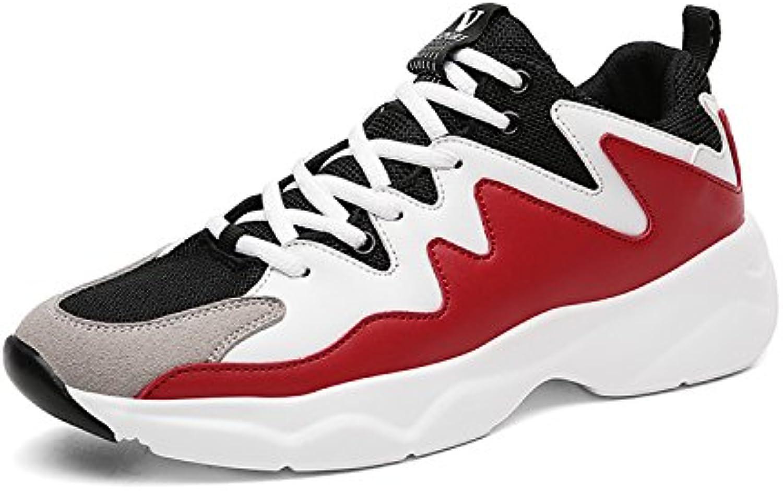 MOOKEY Calzado Deportivo Hombres Zapatillas de Correr Negro Blanco Rojo Calzado Deportivo