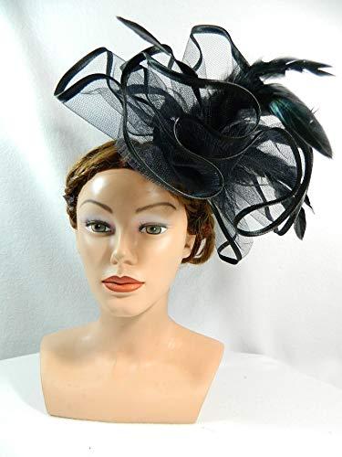Fascinator schwarz gross Tüll Federn Anlasshut Damenhut Halloween Ascot