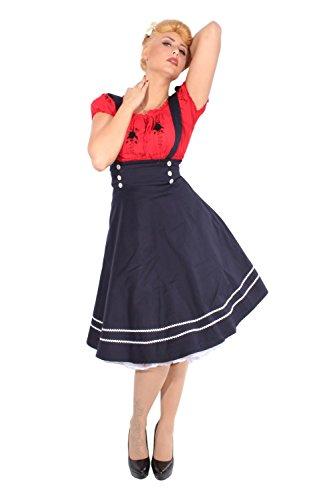 SugarShock Damen RETRO Sailor rockabilly Hosenträger Anker SWING ROCK Tellerrock Rock Marineblau