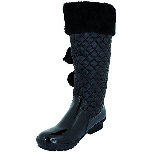 Bottes d'hiver avec volant pompon echarpe v1136 Noir - Noir