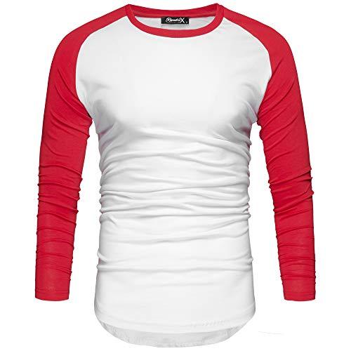 REPUBLIX Oversize Herren Longsleeve Basic 2in1 Sweatshirt Crew Neck Basic O-Ausschnitt Shirt R-0041 Weiß/Rot L - Fashion Long Sleeve Crew Neck