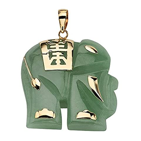 Angelina D'Andrea - Jade 14k Good Fortune Elephant Pendant in 14k Gold