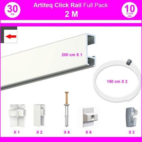 Pack Eco 2m: Cimasa Click Rail-8,5mm, blanc laqué (RAL9010), 8,5 mm