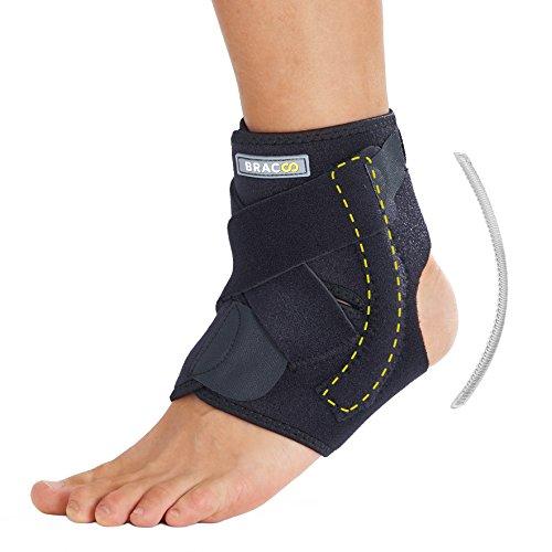 BRACOO Fußbandage mit Stabilisatoren – Sprunggelenkbandage – Fußgelenkbandage | verstellbare Fußgelenkstütze mit Klettverschluss für extra Halt | passt rechts & links | S/M