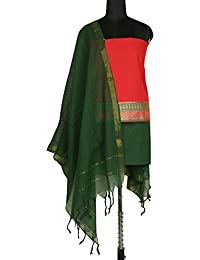 Gleamberry Womens Red and Green Mangalgiri Cotton Dress Material Set