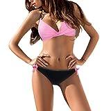 iYmitz Mode Damen Push Up BH Zweiteilig Bikinis Sets Badeanzug Bademode Beachwears Bikinihose Schwimmanzug Strandkleidung(Rosa,EU-34/CN-S)