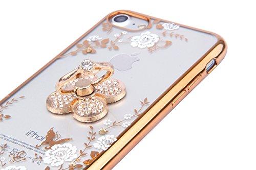 EUWLY Custodia per iPhone 6 Plus/iPhone 6s Plus (5.5), Cover Silicone Trasparente per iPhone 6 Plus/iPhone 6s Plus (5.5), EUWLY Clear Cristallo Chiaro Diamante Bling Glitter Fiori di Ciliegio Modell Fiori Bianco+Anello Foglia,Oro