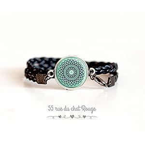 Armband doppelt geflochten schwarz, Cabochon spirit Marokko, Softblau, Türkisblau