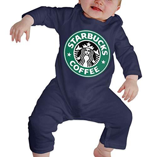 Kinder Baby Mädchen Jungen Bodys T-Shirt Starbucks Logo T Shirt Shirts Für Kleinkind Mädchen Jungen Langhülse Navy 6 Mt -