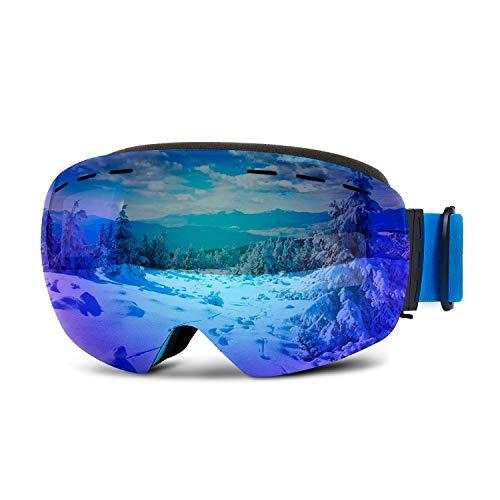 Sporzin Skibrille Verspiegelt Snowboard Brille mit 100{7e0d2d300405d31dcdc0a3e79f1d192d934c51cf04fea0a47e266d7ed81708e9} UV400 Schutz - Anti-Fog Skibrille Damen Herren Skifahren Skaten Snowboarden