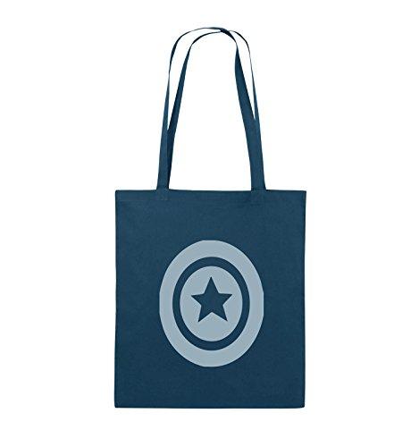Comedy Bags - CAPTAIN AMERICA - Jutebeutel - lange Henkel - 38x42cm - Farbe: Schwarz / Silber Navy / Eisblau