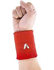 Sweatband, ADIBO Double Wide Cotton Sports Wristband, Sweat Band Wrist for Tennis Basketball Badminton Fitness