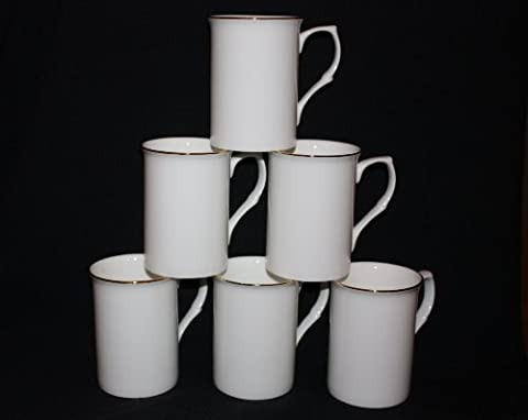 Set of 6 fine bone china opaque white Gold banded mugs cups gift set.