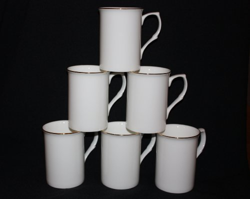 Set of 6 fine bone china opaque white Gold banded mugs cups gift set. by OAKS KABIN Gold Bone China
