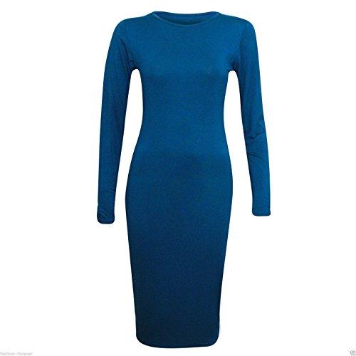 Generic - Robe - Moulante - Manches Longues - Femme bleu sarcelle