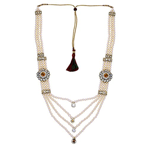 Sanjog Enchanted Off White Pendent Pearl Jewelry Necklace Pearl Men Groom For Wedding Wear( Dule Ki Mala )