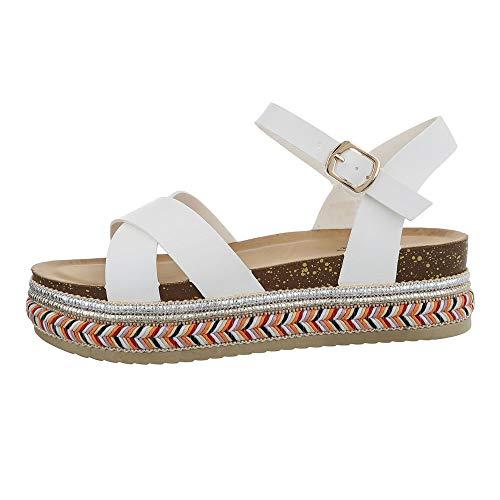 Ital-Design Damenschuhe Sandalen & Sandaletten Riemchensandalen Synthetik Weiß Gr. 40 (Dame Im Weißen Kostüm)