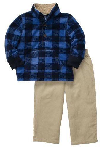 Carter's Outfit 2 teilig Größe 62/68 Langarmshirt + Cord Hose Fleece warm Junge kariert blau US Size 6 Month Carters Fleece-outfit