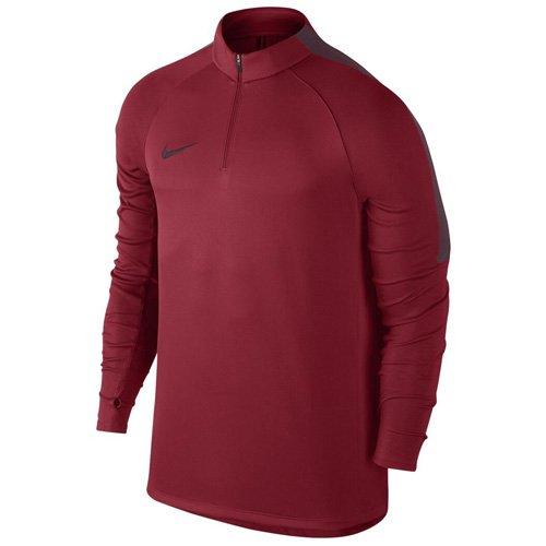 Nike Squad Langarm Herren-Fußballoberteil mit Kurzreißverschluss Studio-Rot/Nacht-Kastanienfarben