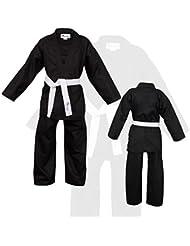 Negro Niños Karate Traje Libre Blanco Cinturón Niños Karate Suit - 150 cm