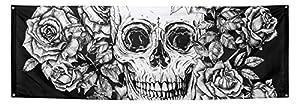 Boland BOL97071 - Decoración de Pared de poliéster, Esqueleto con Flores, Talla única
