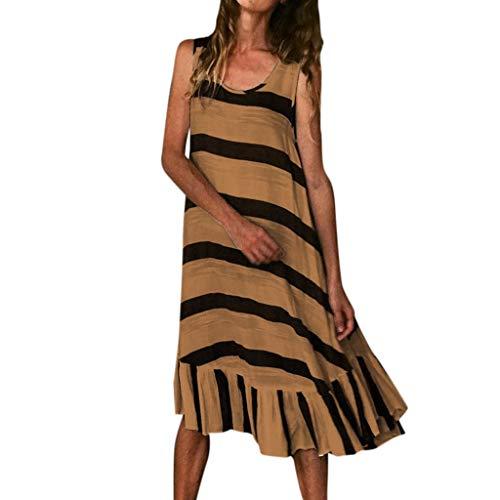 LSAltd Sommer Frauen Casual Striped Print Sleeveless Plus Size Strandkleid Damen Kurze Rüschensaum Täglich Langes Kleid Butterfly Sleeveless